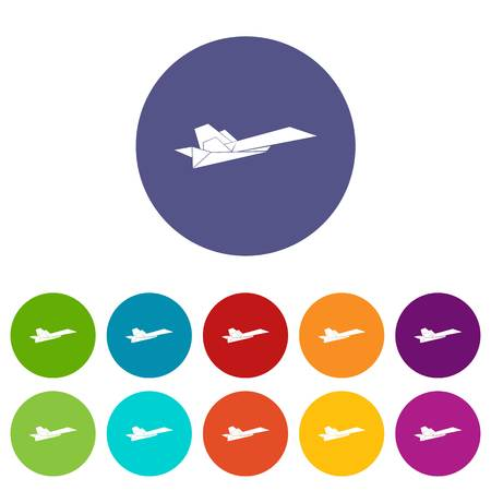 Origami airplane icons color set vector for any web design on white background