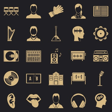 Action icons set. Simple set of 25 action vector icons for web for any design