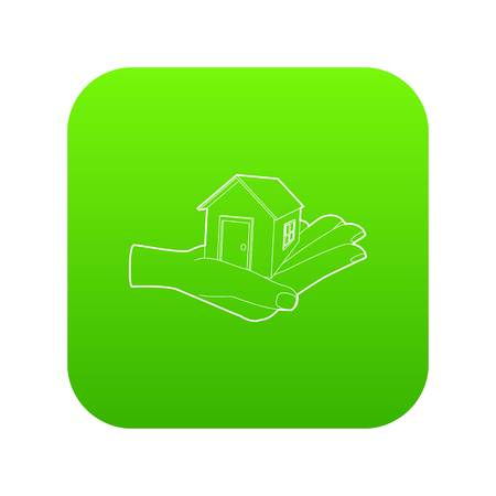 House in hand icon green vector isolated on white background