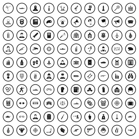 100 officer icons set in simple style for any design vector illustration