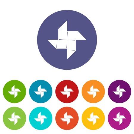 Origami shuriken icons set vector color Çizim