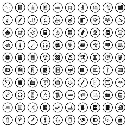 100 office supplies icons set, simple style