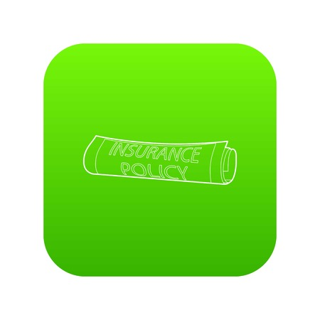 Insurance policy icon green vector