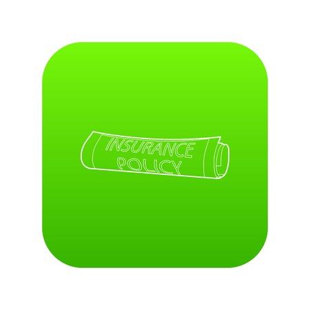 Police d'assurance icône vecteur vert