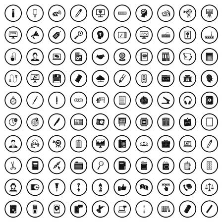 100 office work icons set in simple style for any design vector illustration Ilustracja
