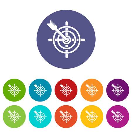 Arrow target icons color set vector for any web design on white background