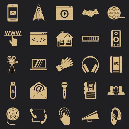 Noise icons set, simple style