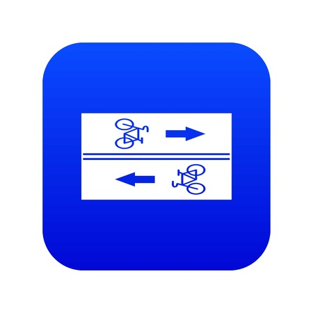 Road for cyclists icon digital blue for any design isolated on white vector illustration Ilustrace