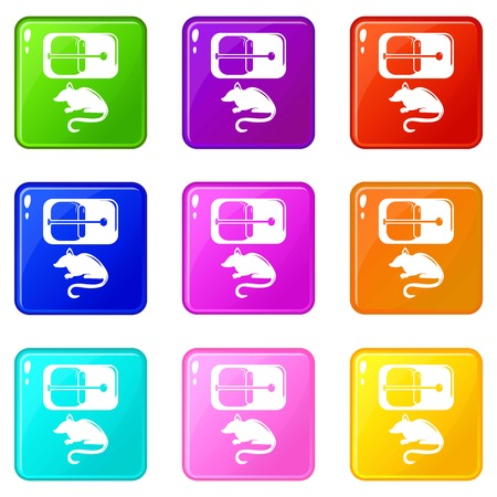 Mousetrap icons set 9 color collection isolated on white for any design 向量圖像