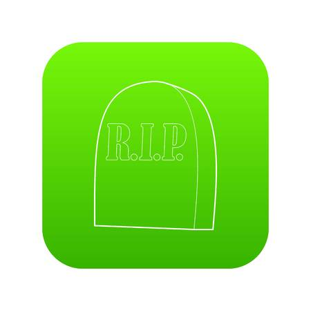 Tombstone with RIP icon green vector isolated on white background