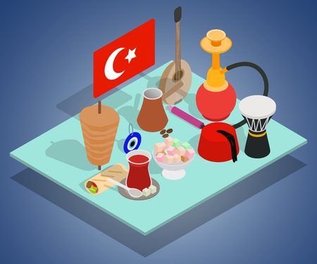 Turkish tea concept banner. Isometric banner of turkish tea vector concept for web, giftcard and postcard