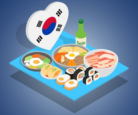 Korea food concept banner. Isometric banner of korea food vector concept for web, giftcard and postcard Illustration