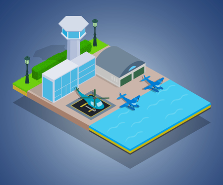 Water airport concept banner. Isometric banner of water airport vector concept for web, giftcard and postcard Stock Illustratie