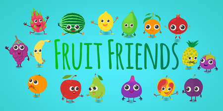 Fruit friends concept banner. Cartoon banner of fruit friends vector concept for web, giftcard and postcard Illustration