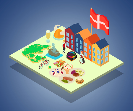 Scandinavia concept banner. Isometric banner of scandinavia vector concept for web, giftcard and postcard
