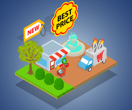 Best price concept banner. Isometric banner of best price vector concept for web, giftcard and postcard Ilustração