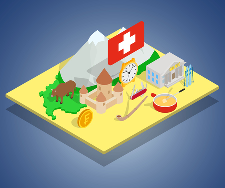 Swiss concept banner. Isometric banner of swiss vector concept for web, giftcard and postcard