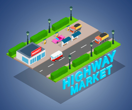 Highway market concept banner. Isometric banner of highway market vector concept for web, giftcard and postcard Illustration