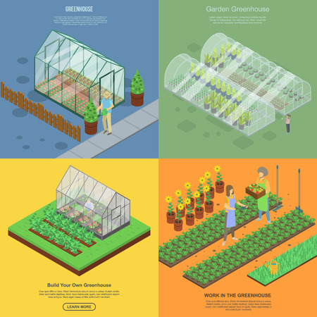 Greenhouse banner set. Isometric set of greenhouse vector banner for web design Illustration