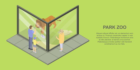 Park zoo banner. Isometric illustration of park zoo vector banner for web design