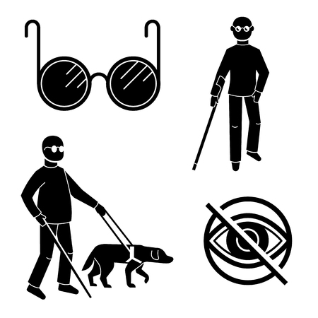 Blind people icons set. Simple set of blind people vector icons for web design on white background