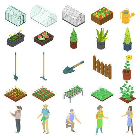 Home greenhouse icons set. Isometric set of home greenhouse vector icons for web design isolated on white background Illustration