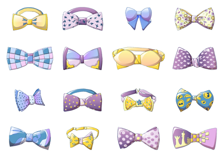 Bowtie icons set. Cartoon set of bowtie vector icons for web design