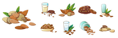 Almond icons set, cartoon style