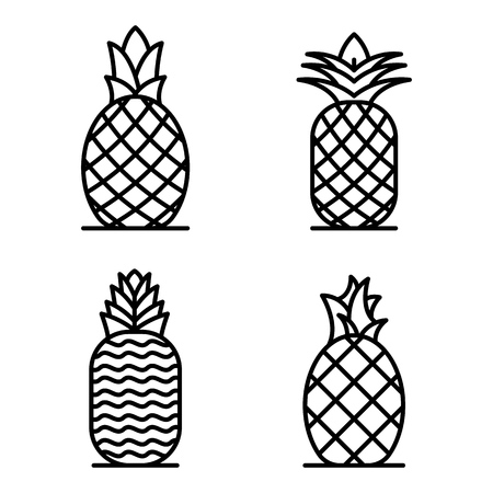 Pineapple icons set, outline style
