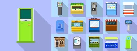 Kiosk icons set, flat style Illustration