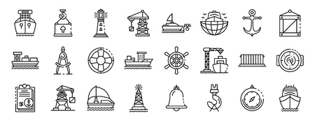 Marine port icons set, outline style