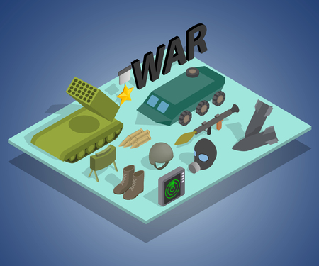 War way concept banner, isometric style Illustration