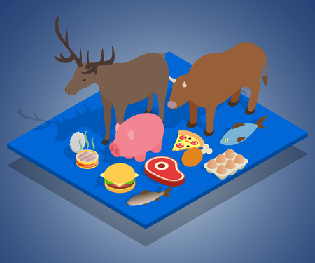 Meat diet concept banner. Isometric banner of meat diet vector concept for web, giftcard and postcard Illustration
