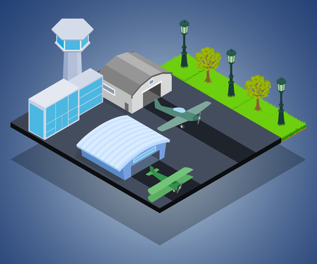 Small airport concept banner. Isometric banner of small airport vector concept for web, giftcard and postcard Ilustrace