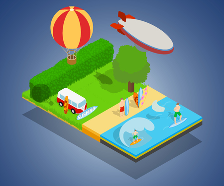 Warm tourism concept banner. Isometric banner of warm tourism vector concept for web, giftcard and postcard
