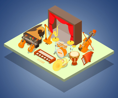 Philharmonic concept banner. Isometric banner of philharmonic vector concept for web, giftcard and postcard Illustration
