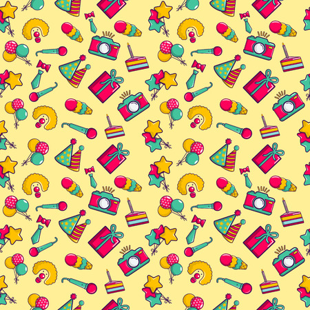 Clownery pattern seamless. Cartoon of clownery vector pattern seamless for web, poster and wrapping paper