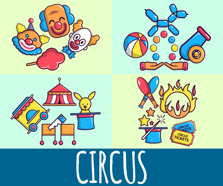 Circus concept banner. Cartoon banner of circus vector concept for web, giftcard and postcard