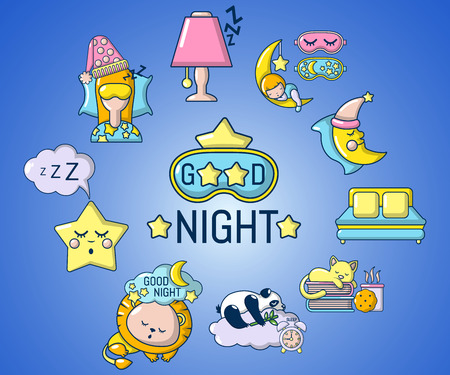 Good night concept banner. Cartoon banner of good night vector concept for web, giftcard and postcard