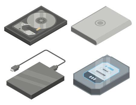 Hard disk icons set. Isometric set of hard disk vector icons for web design isolated on white background Illustration