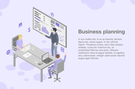 Business planning meeting concept background. Isometric illustration of business planning meeting vector concept background for web design  イラスト・ベクター素材