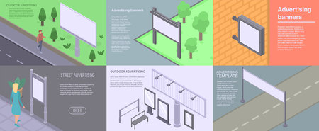 Outdoor advertising banner set. Isometric set of outdoor advertising vector banner for web design
