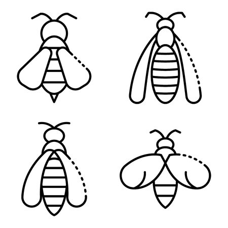 Wasp icons set, outline style