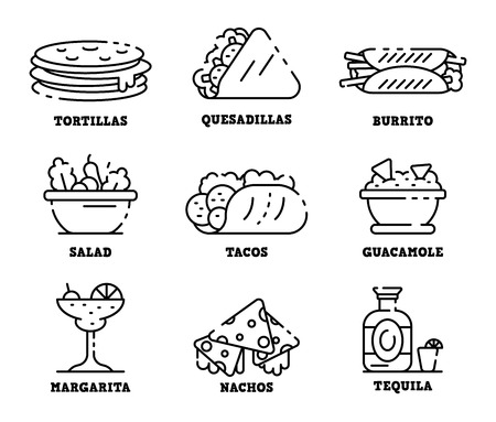 Mexican food icons set. Outline set of mexican food vector icons for web design isolated on white background