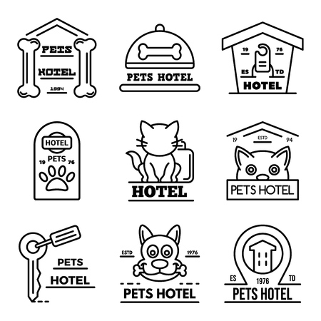 Pets hotel icons set. Outline set of pets hotel vector icons for web design isolated on white background Çizim