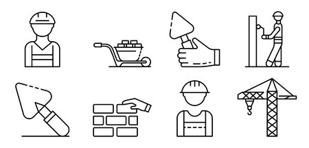 Masonry worker icons set. Outline set of masonry worker vector icons for web design isolated on white background  イラスト・ベクター素材