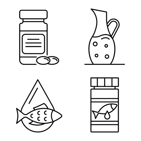 Fish oil icons set, outline style
