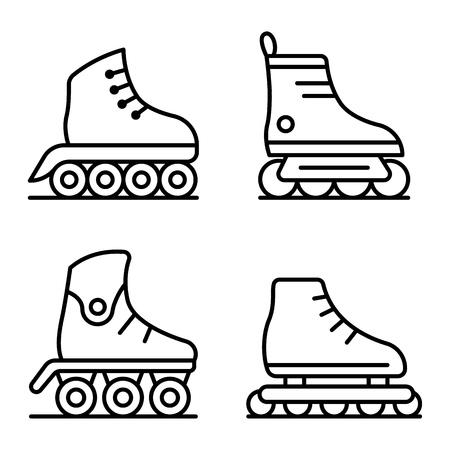 Inline skates icons set. Outline set of inline skates vector icons for web design isolated on white background Illustration