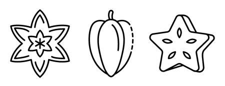Carambola icons set. Outline set of carambola vector icons for web design isolated on white background Illustration