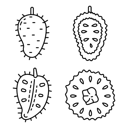 Soursop icons set. Outline set of soursop vector icons for web design isolated on white background